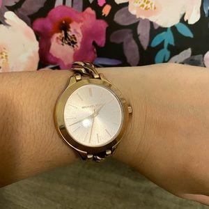 Michael Kors rose gold chain watch